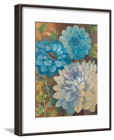 Pretty Blue Dahlias 1-Vera Hills-Framed Art Print