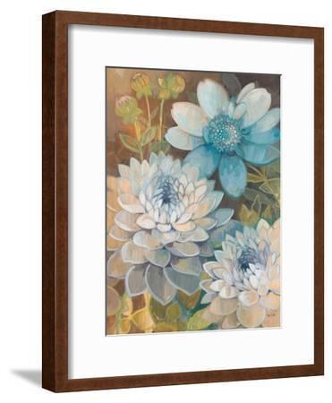 Pretty Blue Dahlias 2-Vera Hills-Framed Art Print