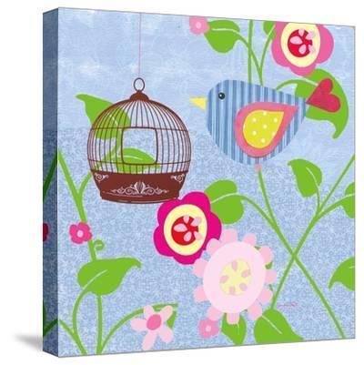 Striped Blue Bird-Sandra Smith-Stretched Canvas Print