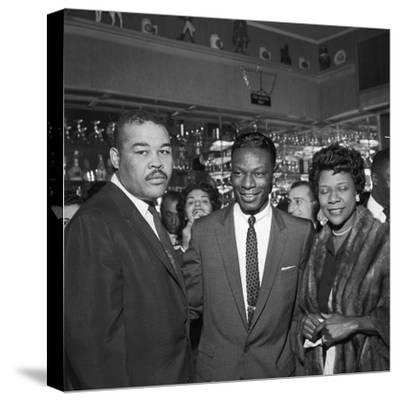 Nat King Cole Is Flanked by Boxing Great Joe Louis and His Wife Rose Morgan-G. Marshall Wilson-Stretched Canvas Print