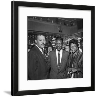 Nat King Cole Is Flanked by Boxing Great Joe Louis and His Wife Rose Morgan-G. Marshall Wilson-Framed Photographic Print