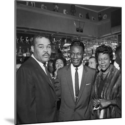 Nat King Cole Is Flanked by Boxing Great Joe Louis and His Wife Rose Morgan-G. Marshall Wilson-Mounted Photographic Print