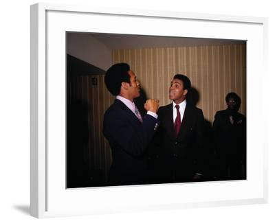 Muhammad Ali with Football Star O.J. Simpson, January 1971-Leroy Patton-Framed Photographic Print