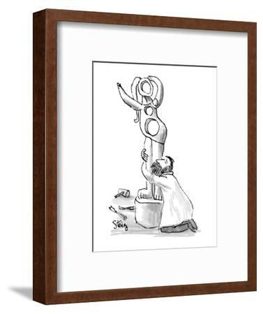 Sculptor on his knees embraces semi-abstract female statue he has Just com? - New Yorker Cartoon-William Steig-Framed Premium Giclee Print