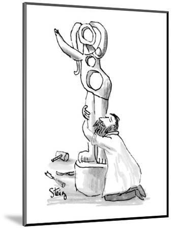 Sculptor on his knees embraces semi-abstract female statue he has Just com? - New Yorker Cartoon-William Steig-Mounted Premium Giclee Print