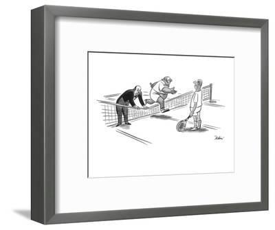 Butler is holding down the tennis net for his master to jump over. - New Yorker Cartoon-Eldon Dedini-Framed Premium Giclee Print