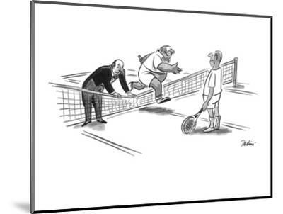 Butler is holding down the tennis net for his master to jump over. - New Yorker Cartoon-Eldon Dedini-Mounted Premium Giclee Print