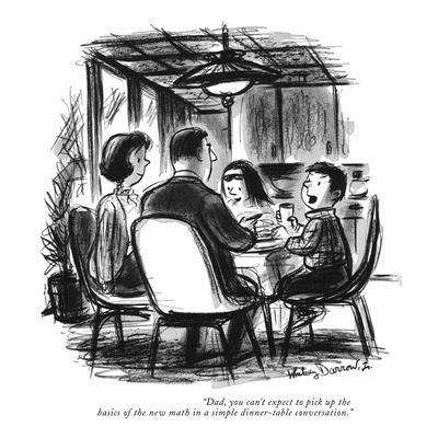"""""""Dad, you can't expect to pick up the basics of the new math in a simple d?"""" - New Yorker Cartoon-Whitney Darrow, Jr.-Framed Premium Giclee Print"""