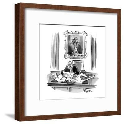 Executive sitting at desk with a portrait behind him of an imbicile titled? - Cartoon-Lee Lorenz-Framed Premium Giclee Print