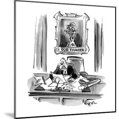 Executive sitting at desk with a portrait behind him of an imbicile titled? - Cartoon-Lee Lorenz-Mounted Premium Giclee Print