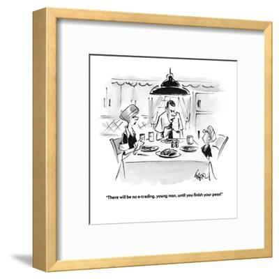 """There will be no e-trading, young man, until you finish your peas!"" - Cartoon-Lee Lorenz-Framed Premium Giclee Print"