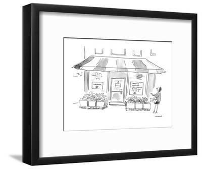 (Woman standing outside of grocery store. One signs in store's window read? - Cartoon-Liza Donnelly-Framed Premium Giclee Print