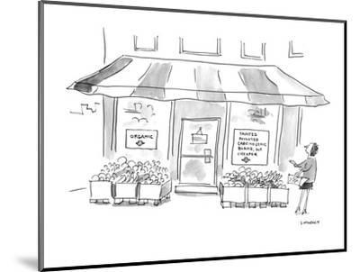 (Woman standing outside of grocery store. One signs in store's window read? - Cartoon-Liza Donnelly-Mounted Premium Giclee Print