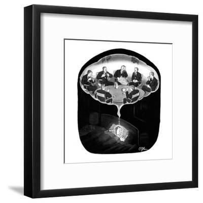 Man has a nightmare of many David Susskinds seated around a discussion tab? - New Yorker Cartoon-C.E. O'Glass-Framed Premium Giclee Print
