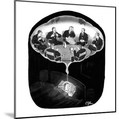 Man has a nightmare of many David Susskinds seated around a discussion tab? - New Yorker Cartoon-C.E. O'Glass-Mounted Premium Giclee Print