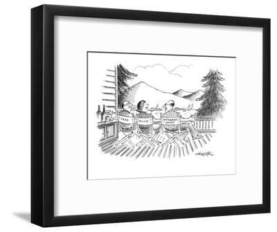 Directors' chairs on deck of summer house are occupied by Fred, Alice, and? - New Yorker Cartoon-Henry Martin-Framed Premium Giclee Print