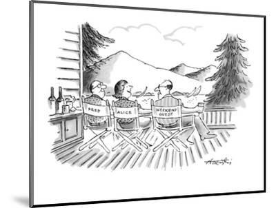Directors' chairs on deck of summer house are occupied by Fred, Alice, and? - New Yorker Cartoon-Henry Martin-Mounted Premium Giclee Print
