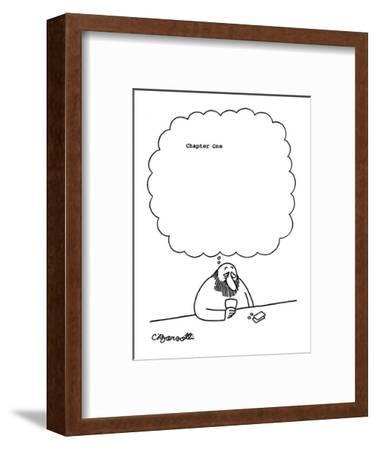 Man at bar thinks, 'Chapter One' with large blank space following. - New Yorker Cartoon-Charles Barsotti-Framed Premium Giclee Print