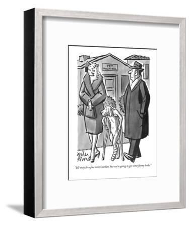 """""""He may be a fine veterinarian, but we're going to get some funny looks."""" - New Yorker Cartoon-Peter Arno-Framed Premium Giclee Print"""
