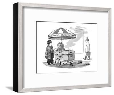 A street vendor is selling 'Hot Rinzelophtats'; he's wearing exotic foreig? - New Yorker Cartoon-Warren Miller-Framed Premium Giclee Print