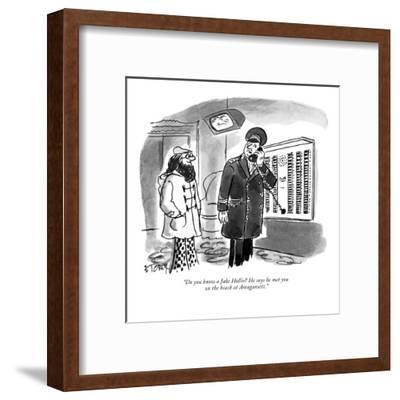 """Do you know a Jake Hollis? He says he met you on the beach at Amagansett."" - New Yorker Cartoon-Barney Tobey-Framed Premium Giclee Print"