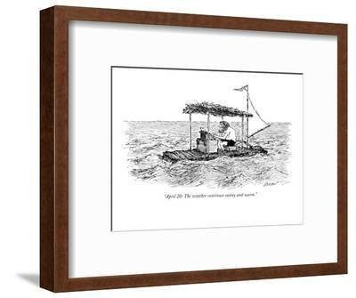 """April 20: The weather continues sunny and warm."" - New Yorker Cartoon-Edward Koren-Framed Premium Giclee Print"