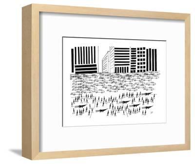 Pedestrians and Alligators walk on crowded sidewalk as cars flood a city a? - New Yorker Cartoon-Saul Steinberg-Framed Premium Giclee Print