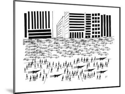 Pedestrians and Alligators walk on crowded sidewalk as cars flood a city a? - New Yorker Cartoon-Saul Steinberg-Mounted Premium Giclee Print