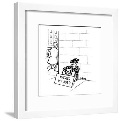 """Waldo from """"Where's Waldo?"""" sits on the street corner with a sign that say? - New Yorker Cartoon-Kaamran Hafeez-Framed Premium Giclee Print"""