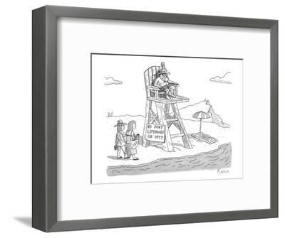 """Two women walk up to a lifeguard stand on the beach. A sign reads, """"NO SEX? - New Yorker Cartoon-Zachary Kanin-Framed Premium Giclee Print"""