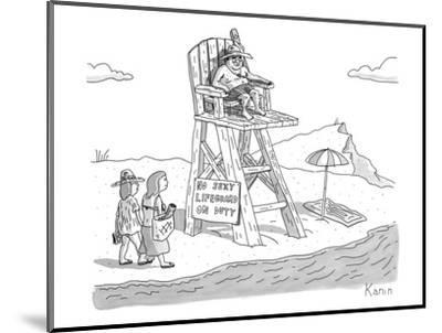 """Two women walk up to a lifeguard stand on the beach. A sign reads, """"NO SEX? - New Yorker Cartoon-Zachary Kanin-Mounted Premium Giclee Print"""