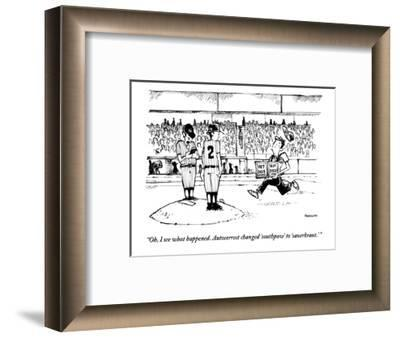 """""""Oh, I see what happened. Autocorrect changed 'southpaw' to 'sauerkraut.'"""" - New Yorker Cartoon-Corey Pandolph-Framed Premium Giclee Print"""
