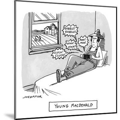 A farmer sits on his bed and holds a phone or handheld gaming device emitt? - New Yorker Cartoon-Joe Dator-Mounted Premium Giclee Print