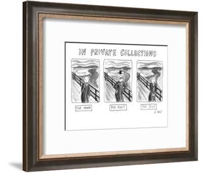 "Three alternate versions of Edward Munch's ""The Scream"": ""The Yawn,"" ""The ? - New Yorker Cartoon-Roz Chast-Framed Premium Giclee Print"