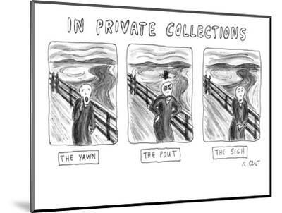 "Three alternate versions of Edward Munch's ""The Scream"": ""The Yawn,"" ""The ? - New Yorker Cartoon-Roz Chast-Mounted Premium Giclee Print"