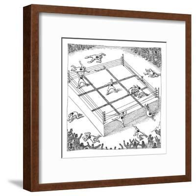 "Wrestlers wearing bodysuits with ""X"" or ""O"" fight on an elevated platform ? - New Yorker Cartoon-John O'brien-Framed Premium Giclee Print"