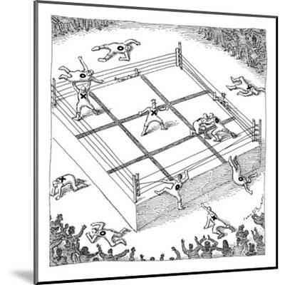 "Wrestlers wearing bodysuits with ""X"" or ""O"" fight on an elevated platform ? - New Yorker Cartoon-John O'brien-Mounted Premium Giclee Print"