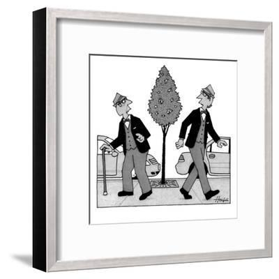 An old man and a young man dressed identically do a double-take as they ar? - New Yorker Cartoon-William Haefeli-Framed Premium Giclee Print