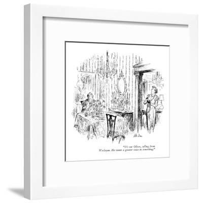"""""""It's our Oliver, calling from Wesleyan. He wants a greater voice in somet?"""" - New Yorker Cartoon-Alan Dunn-Framed Premium Giclee Print"""