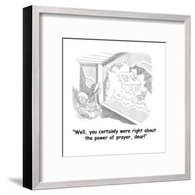 """""""Well, you certainly were right about the power of prayer, dear!"""" - Cartoon-Gahan Wilson-Framed Premium Giclee Print"""