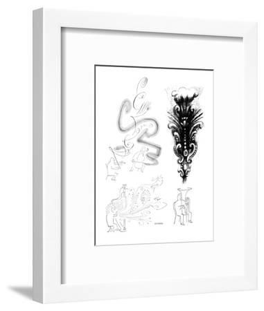 Images of musicians and visual representations of their instrument's sound. - New Yorker Cartoon-Saul Steinberg-Framed Premium Giclee Print