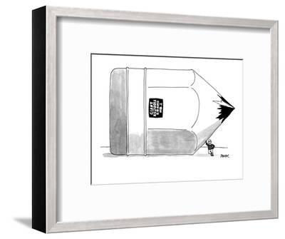 A lumberjack leans against gigantic pencil labeled 'Giant Sequoia Brand No? - New Yorker Cartoon-Jack Ziegler-Framed Premium Giclee Print