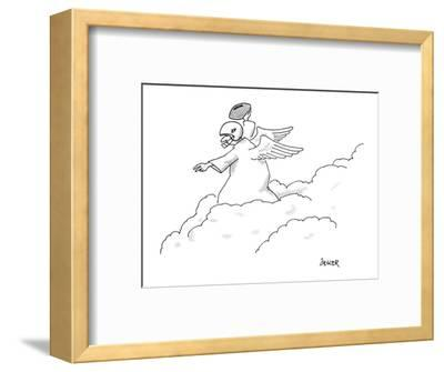An angel standing on top of the clouds wearing a football helmet; he has a? - New Yorker Cartoon-Jack Ziegler-Framed Premium Giclee Print