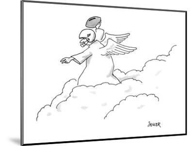 An angel standing on top of the clouds wearing a football helmet; he has a? - New Yorker Cartoon-Jack Ziegler-Mounted Premium Giclee Print