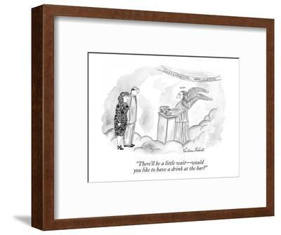 """""""There'll be a little wait?would you like to have a drink at the bar?"""" - New Yorker Cartoon-Victoria Roberts-Framed Premium Giclee Print"""