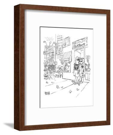 """A couple are coming out of Times Square-area """"Broadway tattoos"""" parlor wit? - New Yorker Cartoon-Brian Savage-Framed Premium Giclee Print"""