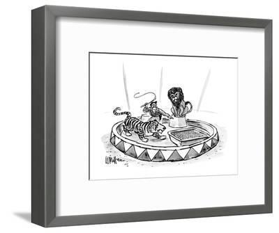 Lion tamer, with raised whip, directs a tiger toward a large litter box. - New Yorker Cartoon-Warren Miller-Framed Premium Giclee Print