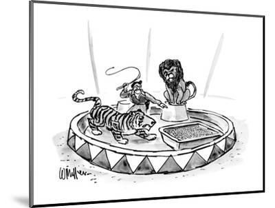 Lion tamer, with raised whip, directs a tiger toward a large litter box. - New Yorker Cartoon-Warren Miller-Mounted Premium Giclee Print
