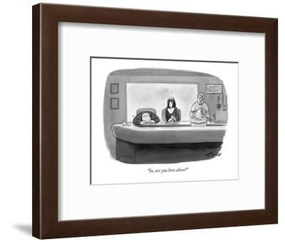"""""""So, are you here alone?"""" - New Yorker Cartoon-Harry Bliss-Framed Premium Giclee Print"""
