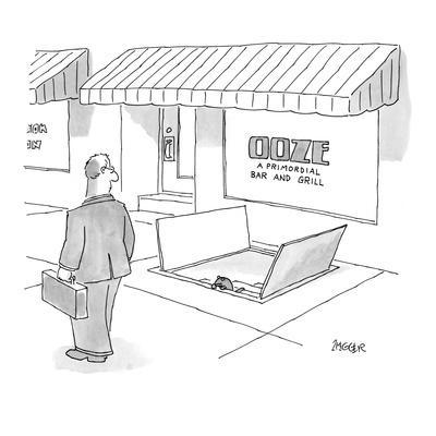 Ooze: A Primordial Bar and Grill - New Yorker Cartoon-Jack Ziegler-Framed Premium Giclee Print